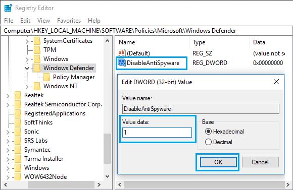 غيرفعال كردن windows security
